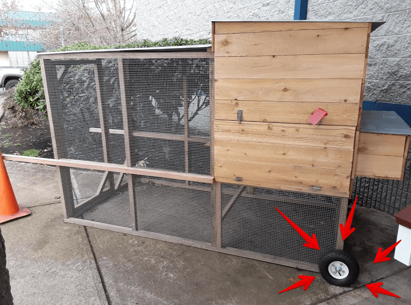 how to install wheels on chicken tractor